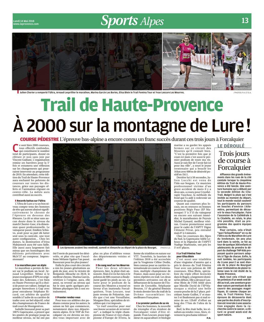 Article de presse - Trail de Haute Provence